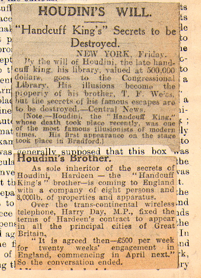 "Houdini's Will. ""Handcuff King's"" Secrets to be Destroyed."