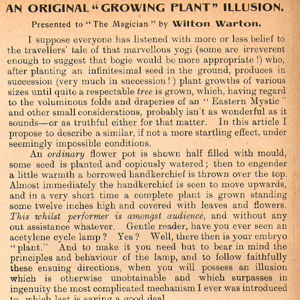 An Original Growing Plant Illusion.