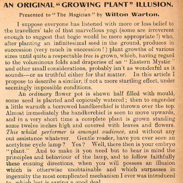 An Original Growing Plant Illusion.