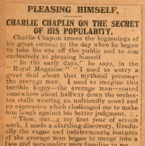 Charlie Chaplin On The Secret Of His Popularity.